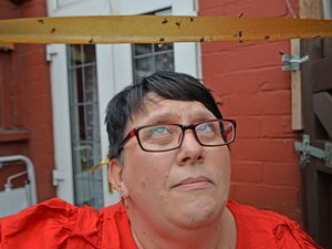 SANDWELL COPYRIGHT TIM STURGESS EXPRESS AND STAR...... 06/07/2021  Bagnall st  residents are having swarms of flies during warm weather decend on their West Bromwich street. Pictured is  Paula Treece with some she caught in her home today..