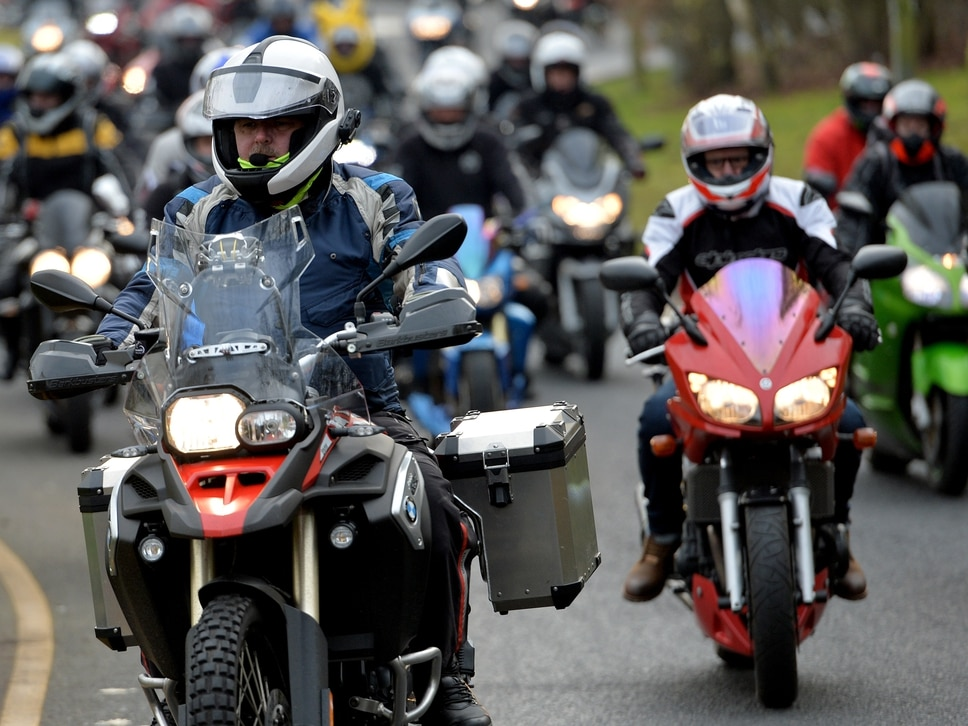 WATCH: Hundreds of motorcyclists ride out for anniversary event
