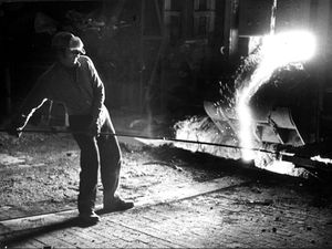 Steel worker Len Tomkinson pictures at Round Oak works just before closure in December, 1982