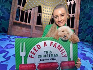 Dani Dyer with co-star Pepper as she supports the Express & Star's Feed a Family This Christmas campaign