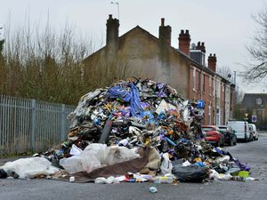 The rubbish pile on Bilhay Lane, West Bromwich