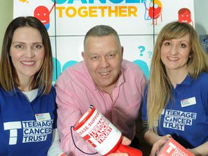 From left, Grace Higgins (Teenage Cancer Trust), Tim Jones (Higgs & Sons) and Louise Walker (Teenage Cancer Trust). Photo taken prior to Covid-19 social distancing