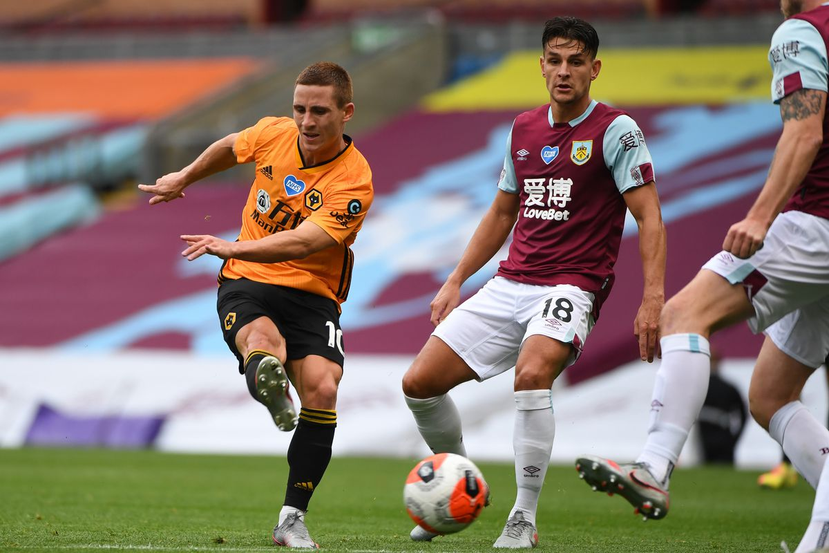 Daniel Podence of Wolverhampton Wanderers gets a shot blocked by Ashley Westwood of Burnley. (AMA/Sam Bagnall)