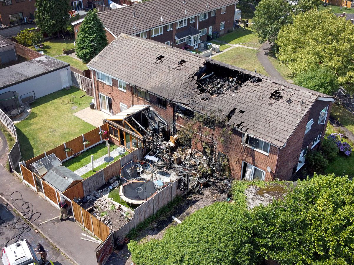 Aerial shot shows the extent of the damage caused