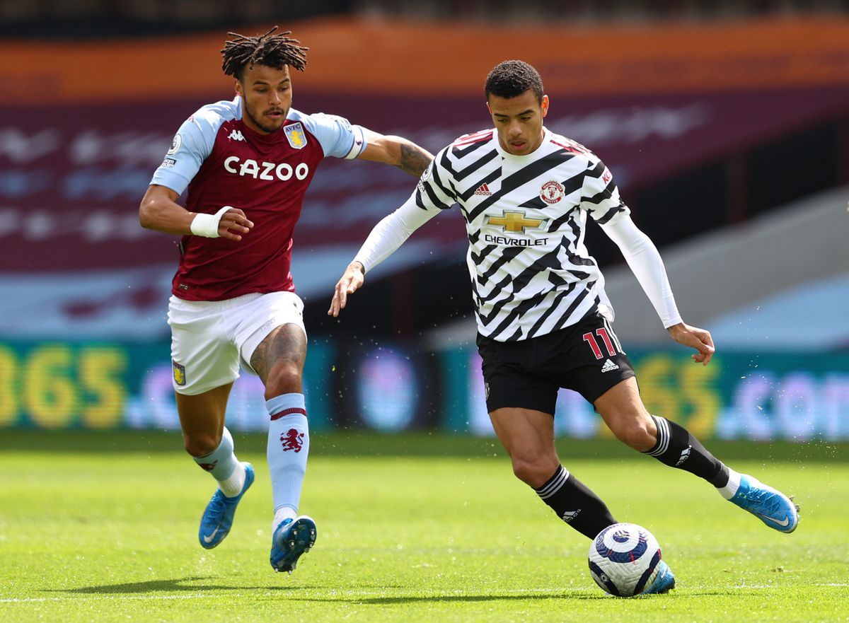 Manchester United's Mason Greenwood (right) and Aston Villa's Tyrone Mings battle for the ball