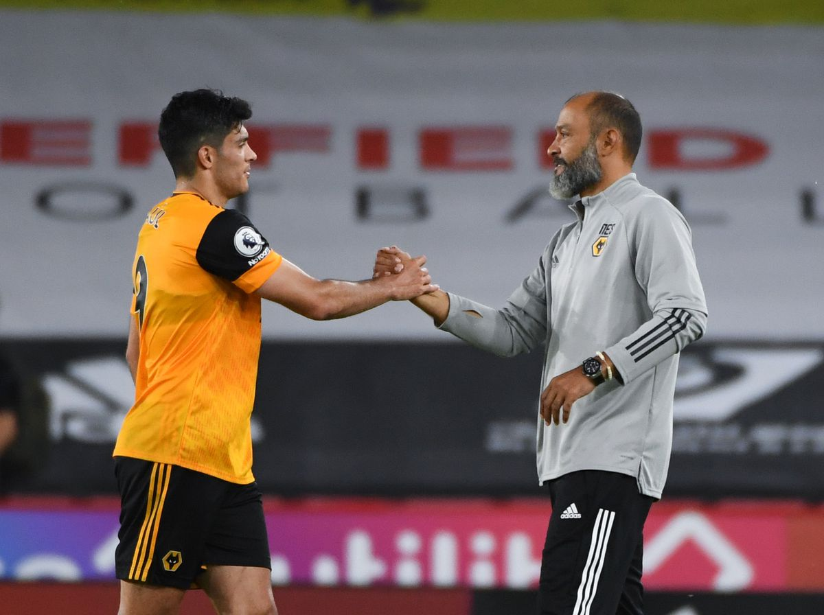 Nuno Espirito Santo the head coach / manager of Wolverhampton Wanderers with Raul Jimenez after the 0-2 victory (AMA)