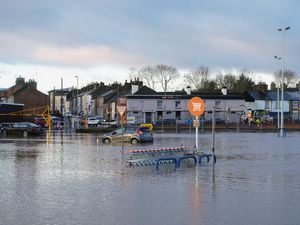 The flooded Sainsbury's car park in Stafford town centre. Photo: @z70photo