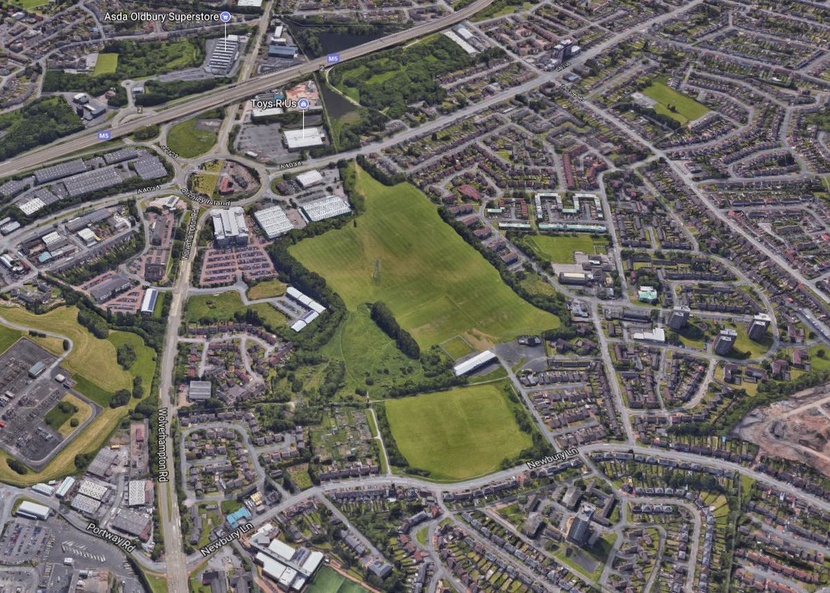 The Lion Farm playing fields, centre, close to junction two of the M5 at Oldbury where the designer village could be created