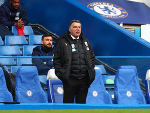 """West Bromwich Albion manager Sam Allardyce during the Premier League match at Stamford Bridge, London. Issue date: Saturday April 3, 2021. PA Photo. See PA story SOCCER Chelsea. Photo credit should read: Clive Rose/PA Wire...RESTRICTIONS: EDITORIAL USE ONLY No use with unauthorised audio, video, data, fixture lists, club/league logos or """"live"""" services. Online in-match use limited to 120 images, no video emulation. No use in betting, games or single club/league/player publications.."""