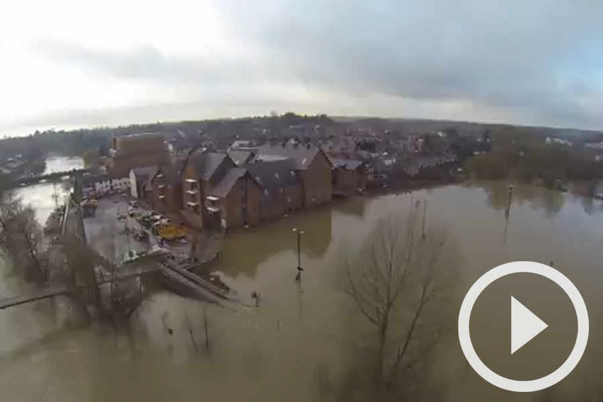 Video: Dramatic aerial view of flooding in Shrewsbury