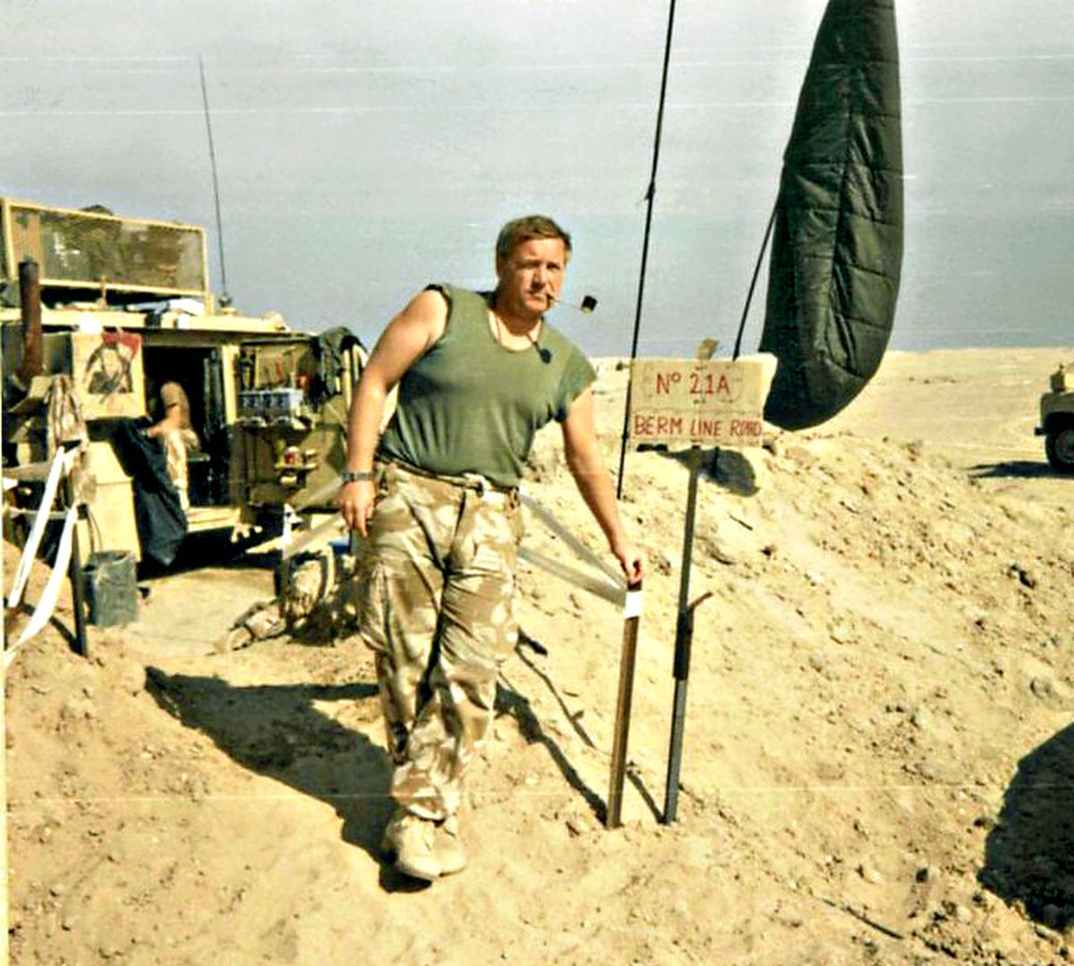 Sgt Major Keith Hodgson in newly-liberated Kuwait, waiting to go home.