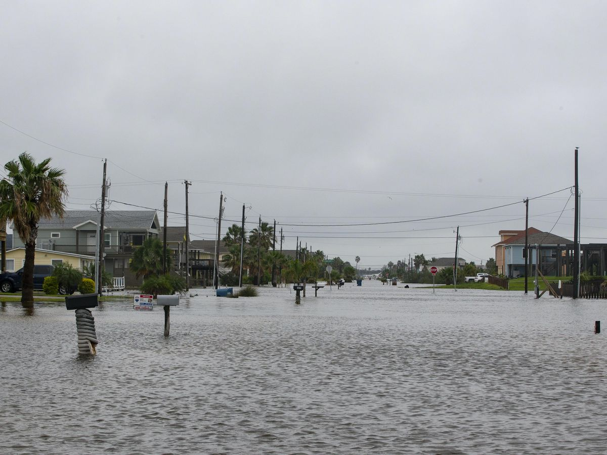 A flooded street in Texas
