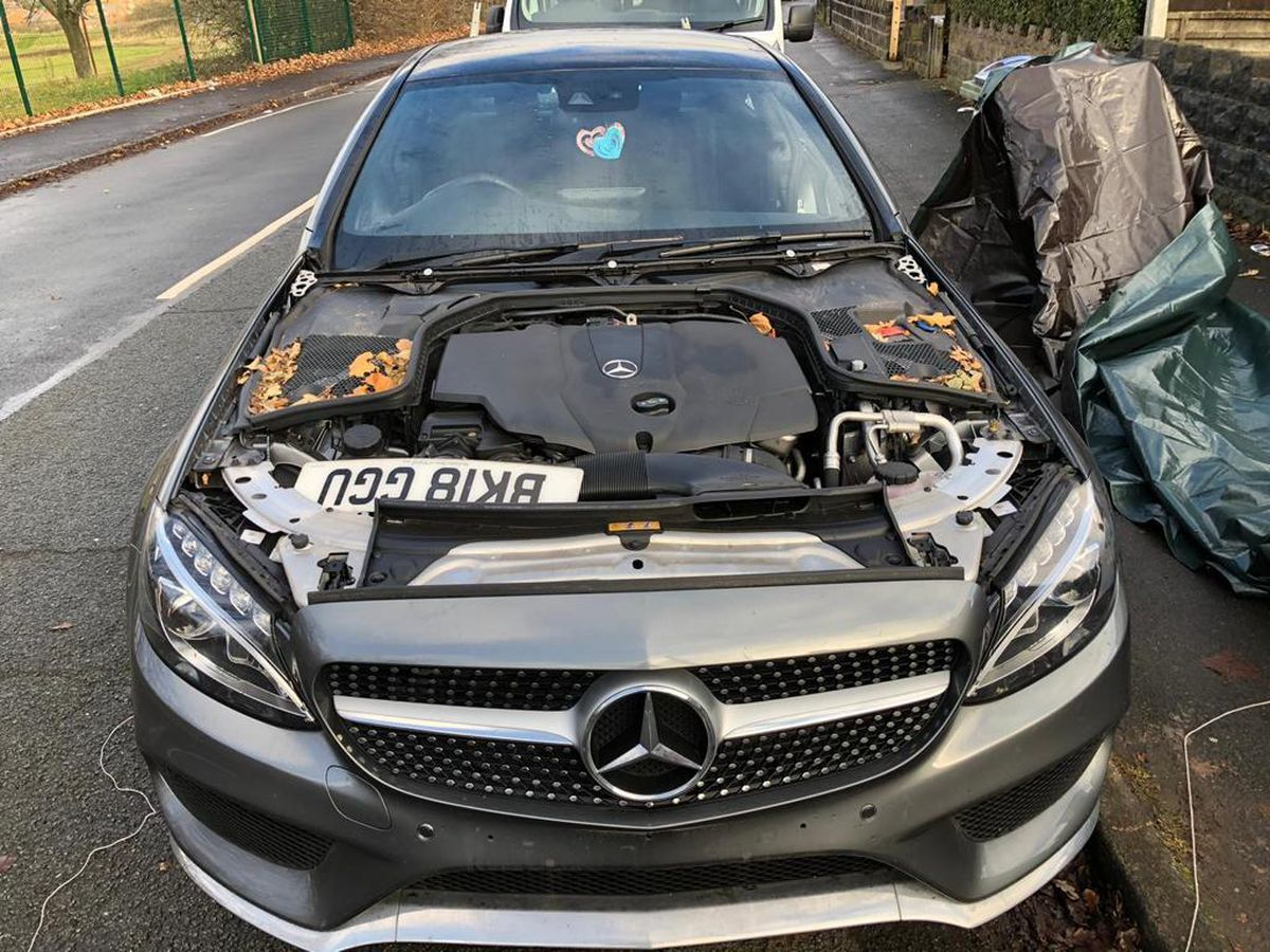 The Mercedes car which was stripped bare