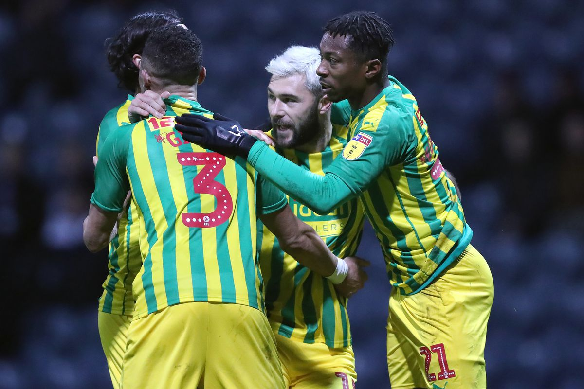 Charlie Austin of West Bromwich Albion celebrates after scoring a goal to make it 0-1 from the penalty spot with Kieran Gibbs of West Bromwich Albion and Kyle Edwards of West Bromwich Albion (AMA)