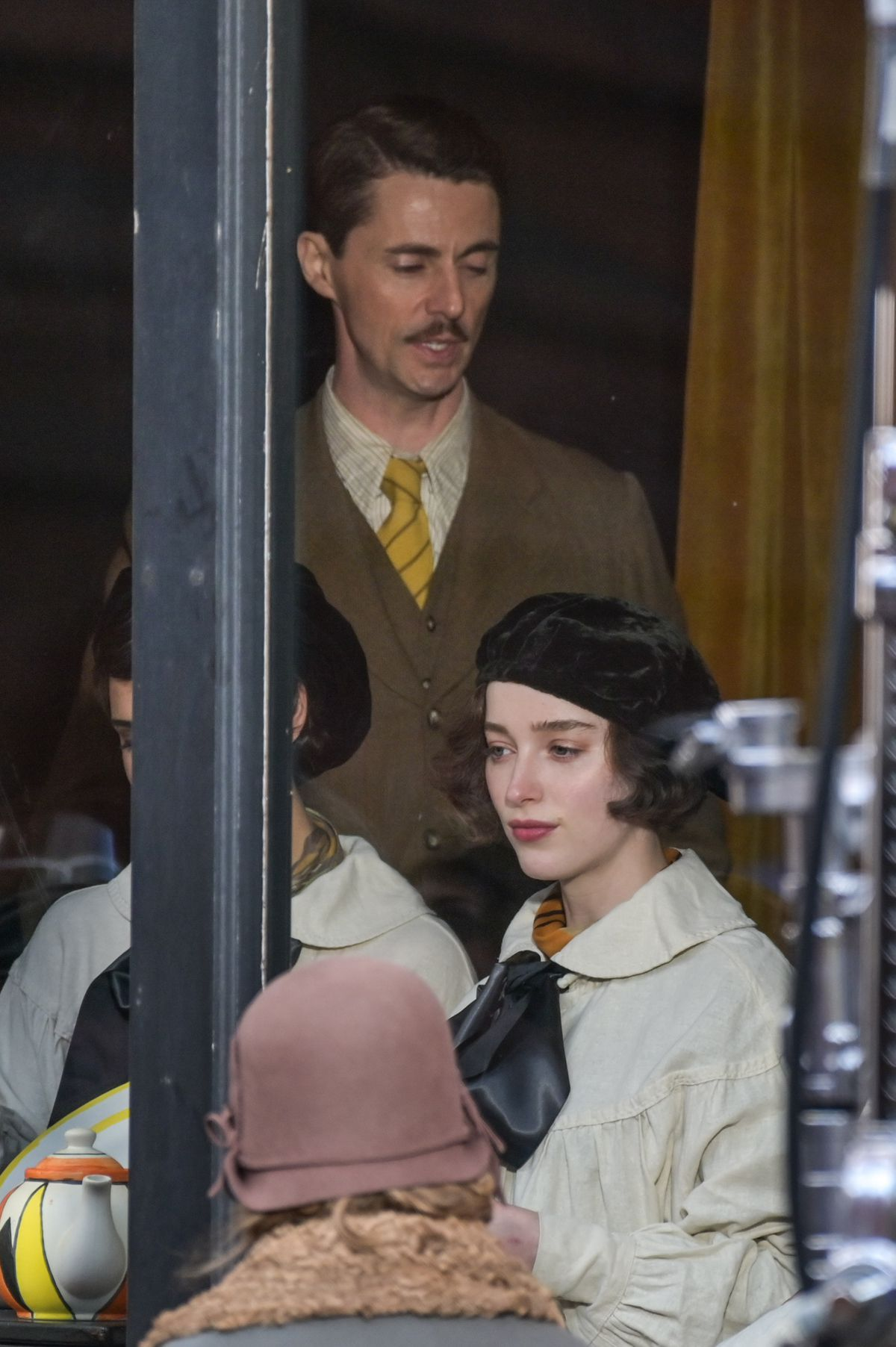 Phoebe Dynevor and Matthew Goode filming of The Colour Room in Birmingham. Photo: SnapperSK.