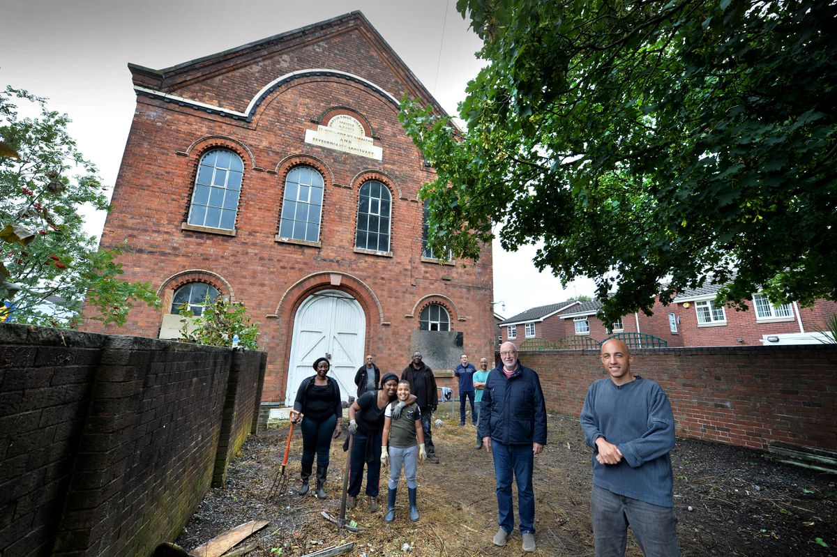 Councillor Sean Coughlan joins Paster Paul Williams and members of the Bethesda Shalom church at Providence Baptist Chapel in Willenhall
