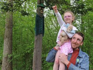 Jack Hindley-Holmes with four-year-old Rosie Holmes-Ashmore, from Bilston, at Bodenham Arboretum