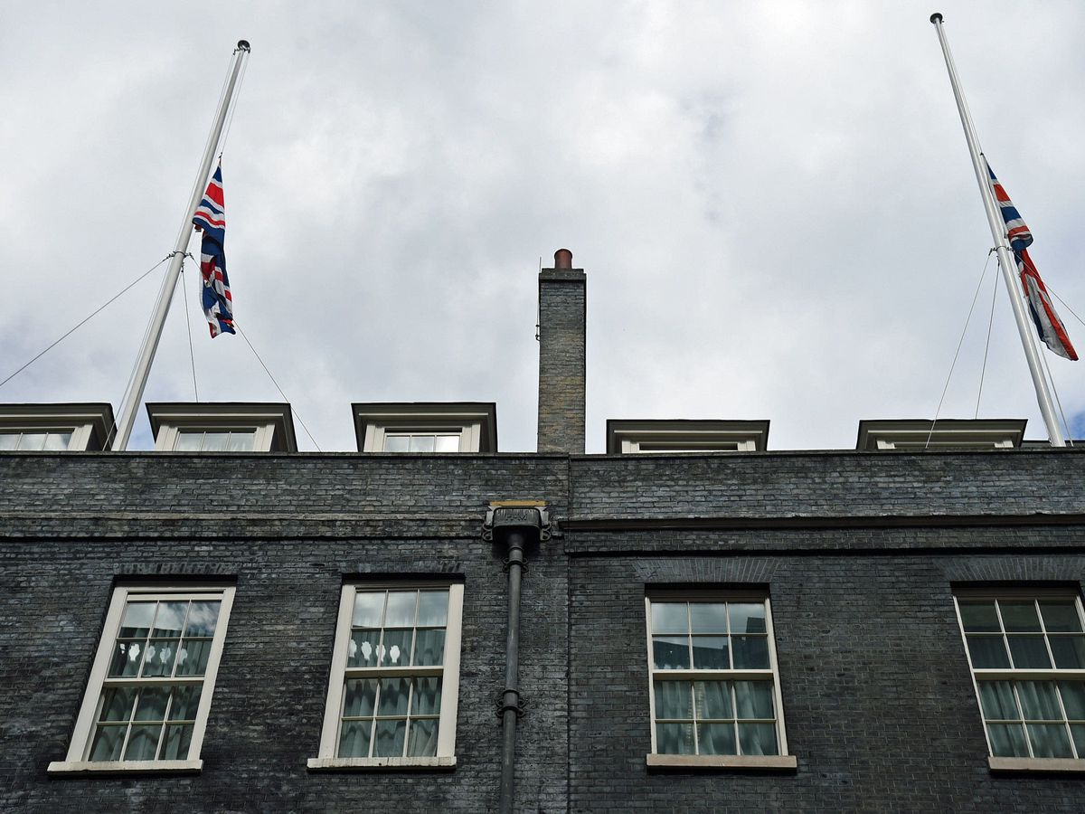 Union Flags fly at half mast at Downing Street, London, following the announcement of the death of the Duke of Edinburgh (Kirsty O'Connor/PA)