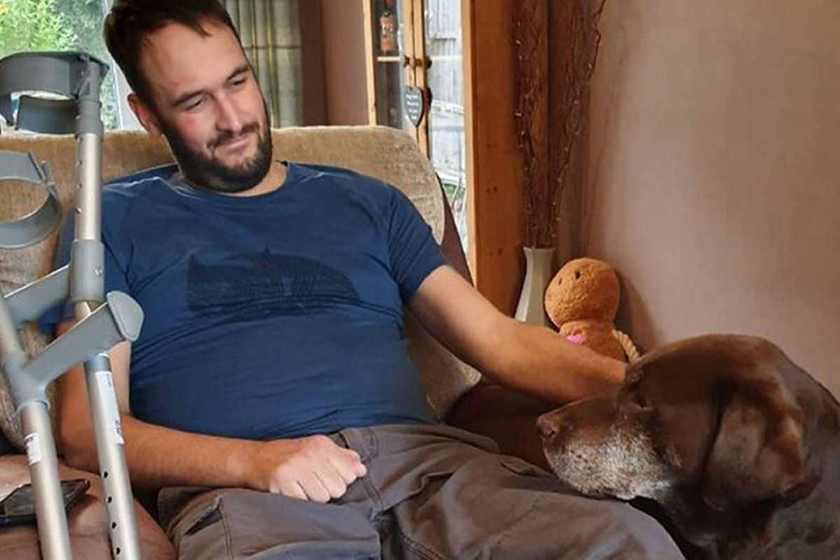 Pc Gareth Phillips, pictured recovering at home, was in court for the sentencing
