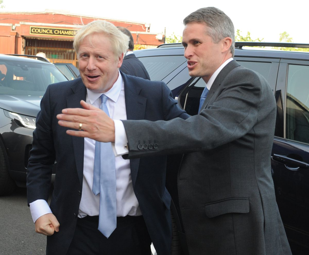 Boris Johnson MP, during a visit at Wombourne Civic Centre, with South Staffordshire MP and former Defence Secretary Gavin Williamson who could be heading for another cabinet role