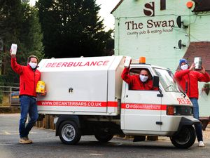 With the Beerbulance, landlord Chris Lowe, centre, and Decanter Bars directors James Hupfield, left, and Max Turner at The Swan