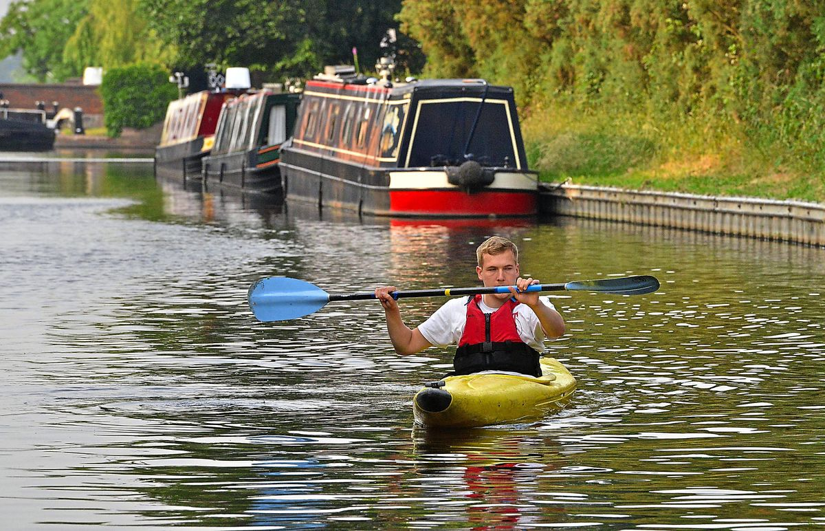 Express & Star reporter Jamie Brassington on the water at Gailey Canoeing Club, Croft Lane, Gailey, Penkridge.
