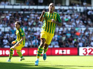 Kenneth Zohore of West Bromwich Albion celebrates after scoring a goal to make it 1-1. (AMA)