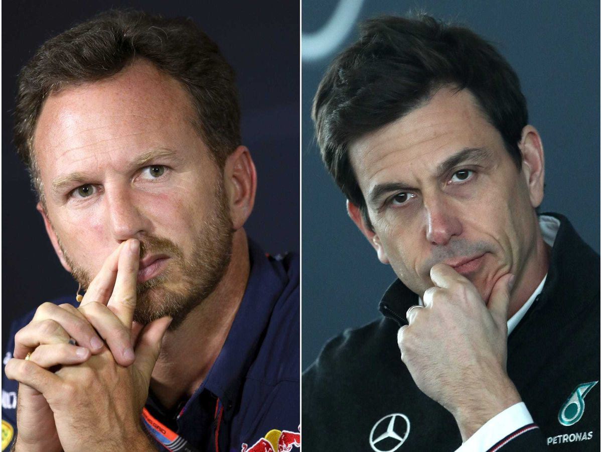 Christian Horner, left, and Toto Wolff