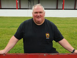 WOLVERHAMPTON PIC DAVID HAMILTON PIC EXPRESS AND STAR PIC 21/07/2017 Manager Dean Gill, by The Carl Ikeme Stand, which will be unveiled, at Wednesfield Football Club, Amos Lane, Wolverhampton..
