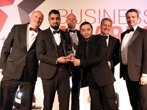 Young Business of the Year winner The Little Dessert Shop with sponsor Henry Carver from Carvers Building Supplies and event compere Alan Dedicoat, left