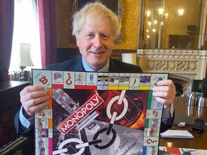 Prime Minister Boris Johnson with the Black Country Monopoly game