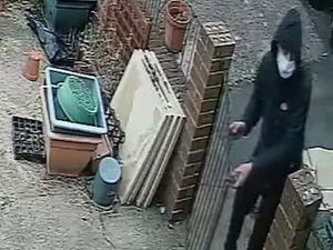 One of the alleged thieves enters the property at the back gate