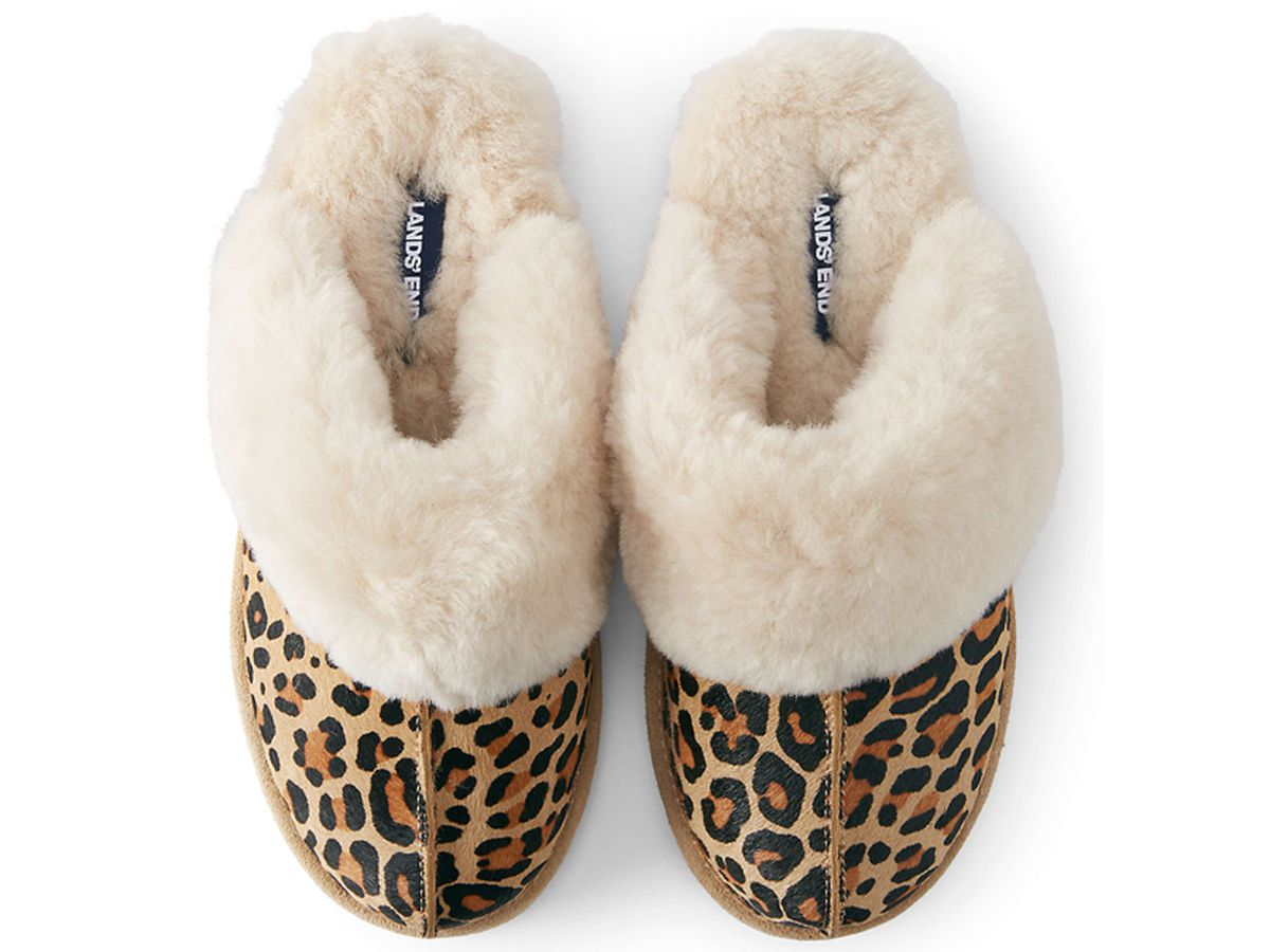 Lands' End Women's Leather/ Shearling Mule Slippers