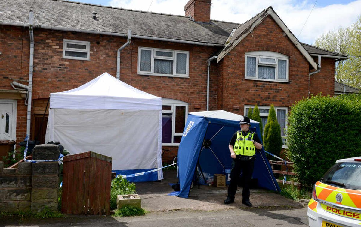 Police outside the house on Hollemeadow Avenue, Walsall
