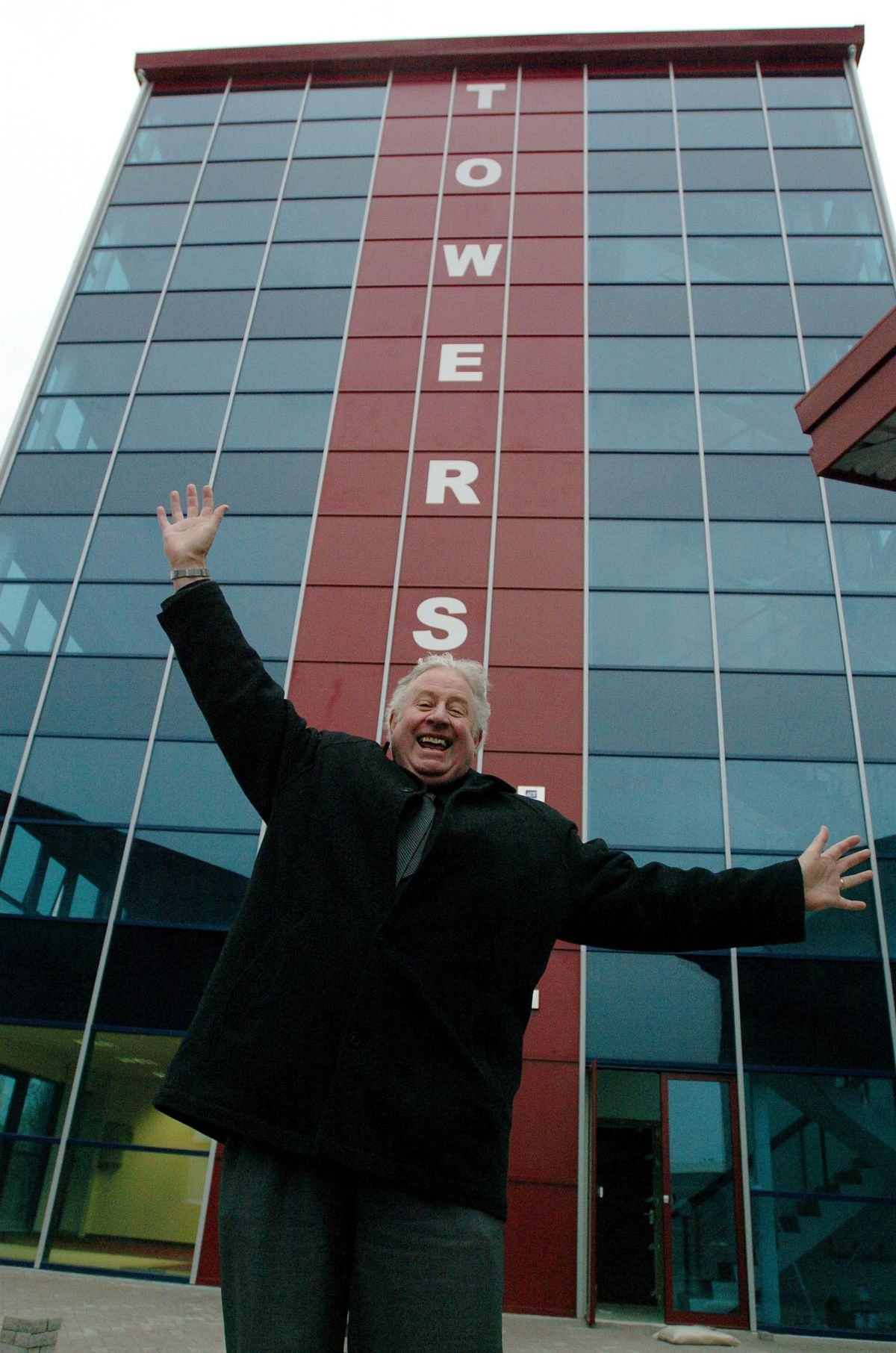 Fred Pritchard celebrates the completion of The Towers, Rugeley.