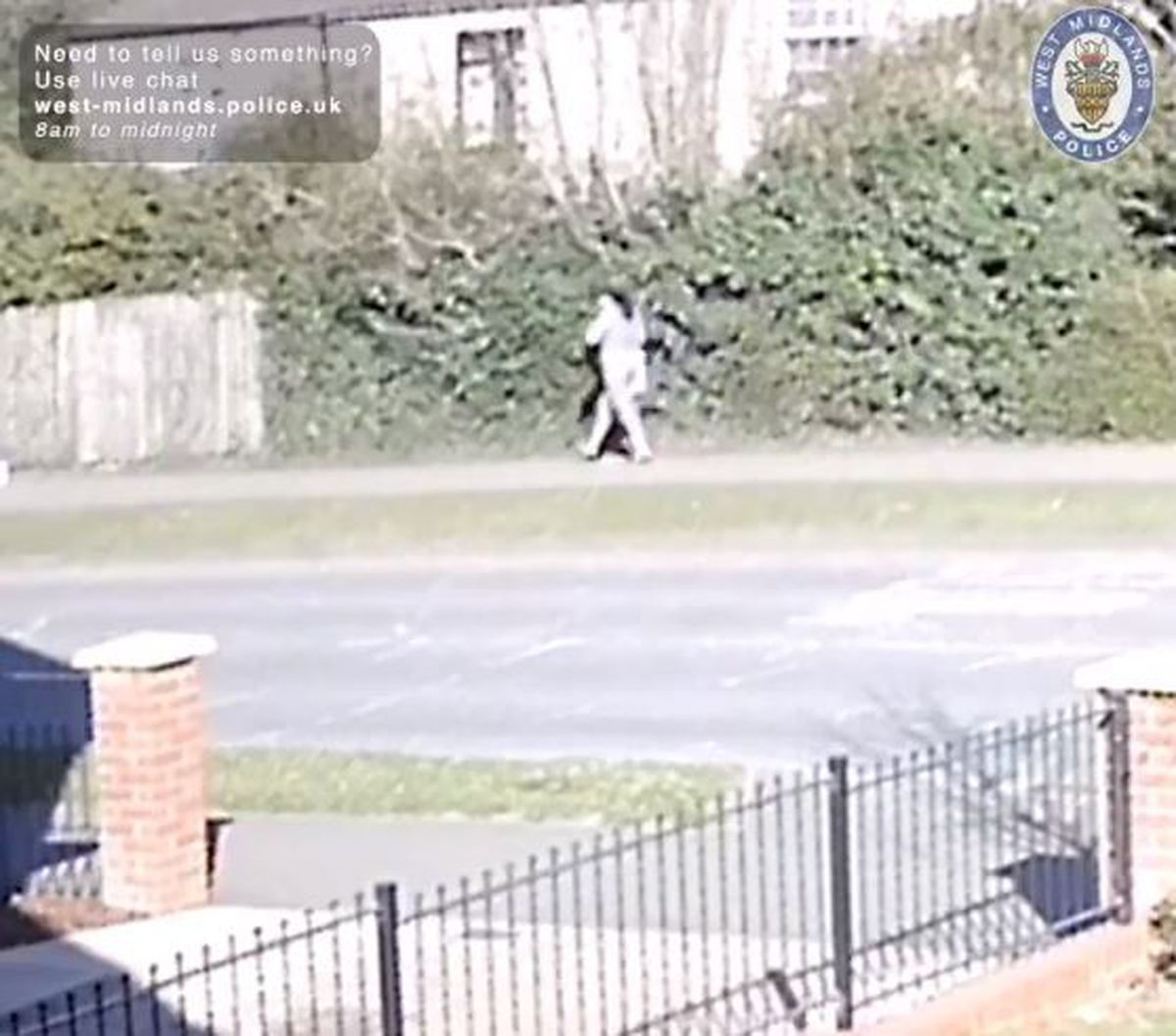 CCTV still of a woman walking along Shannon Road shortly before baby George was found