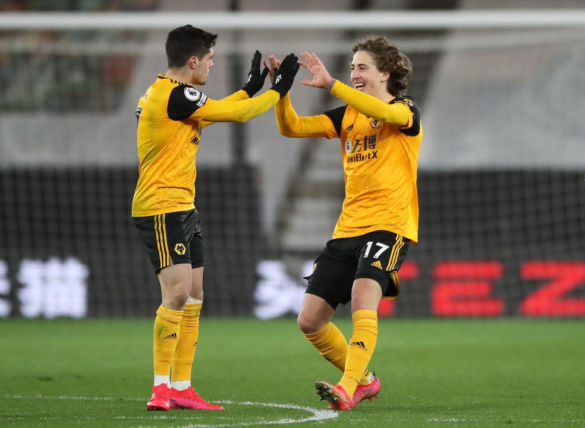 Wolverhampton Wanderers' Fabio Silva (right) celebrates with Pedro Neto