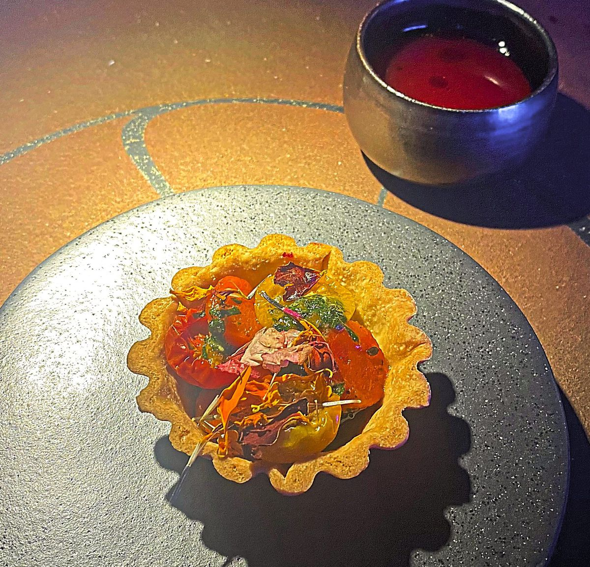 Tomato tart and v8 juice