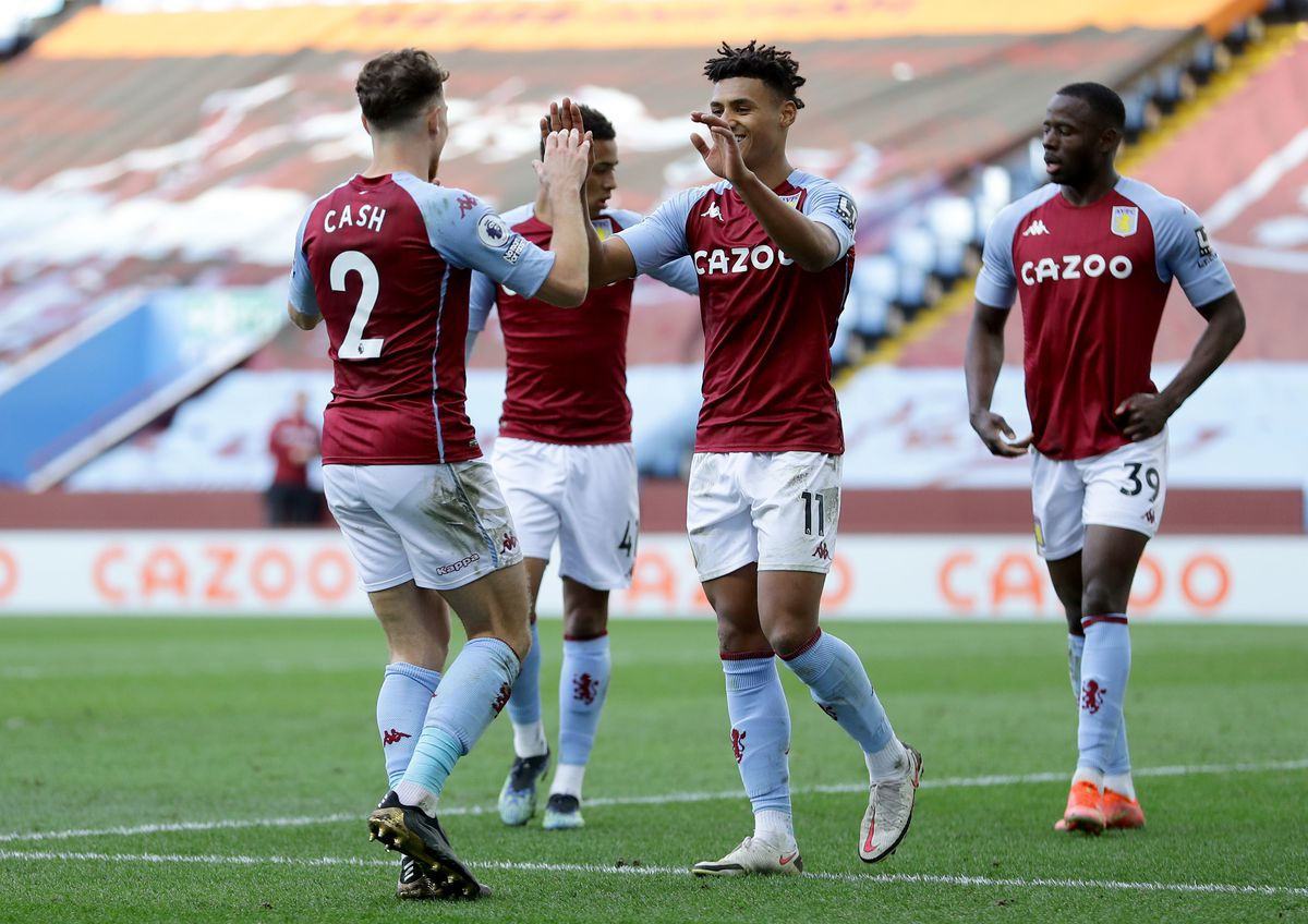Aston Villa's Ollie Watkins celebrates scoring their side's third goal of the game