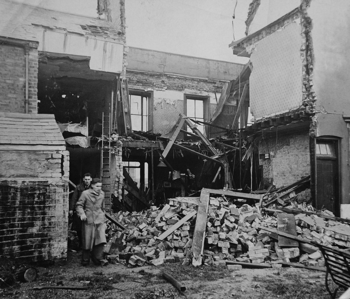 A public house in Tipton, in 1940, after bombing