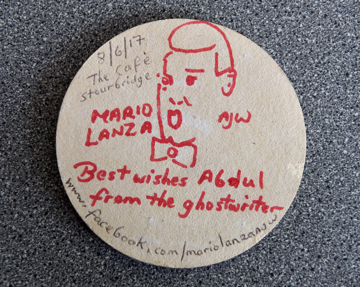 This Mario Lanza beer mat left at The Station grill in Stourbridge in July.