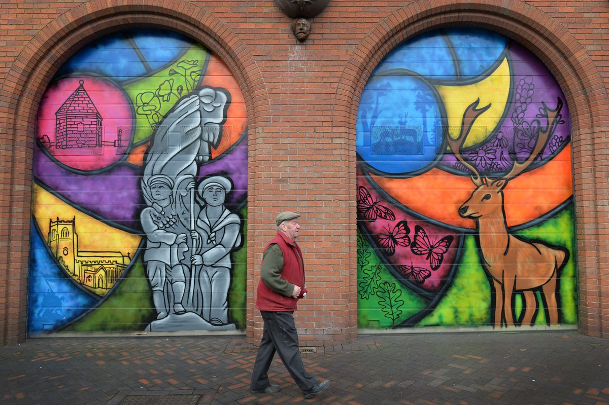 The colourful murals painted on Cannock Market Hall highlight the history and nature of the area