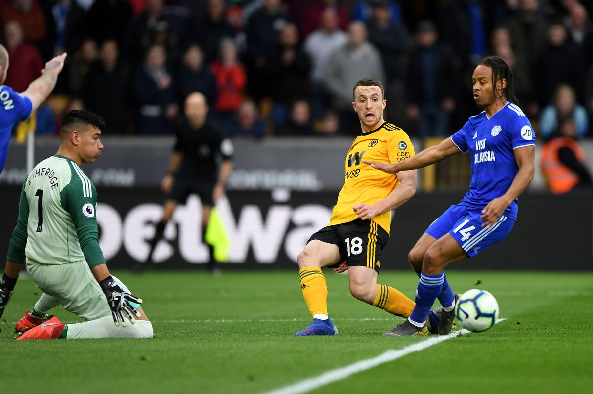 Diogo Jota of Wolverhampton Wanderers and Bobby Reid of Cardiff City. (AMA/Sam Bagnall)