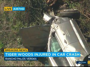Tiger Woods's car on its side after the crash