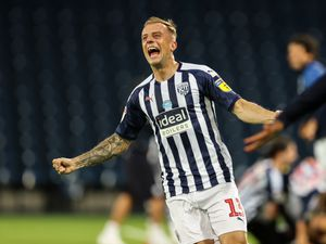 Kamil Grosicki of West Bromwich Albion celebrates promotion.