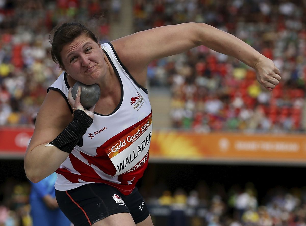 Rachel Wallader competes in the woman's shot put qualifying