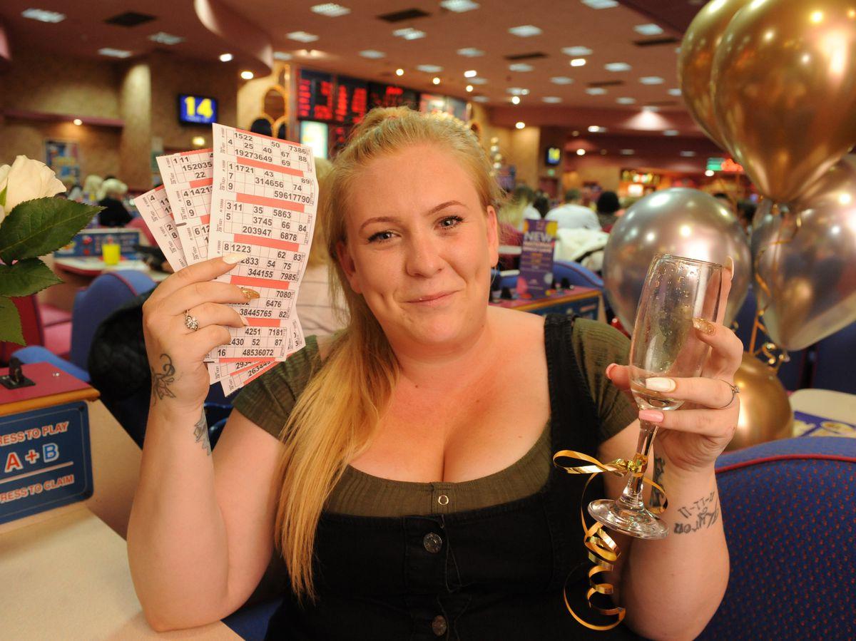 Kylie Preece celebrates winning £50,000