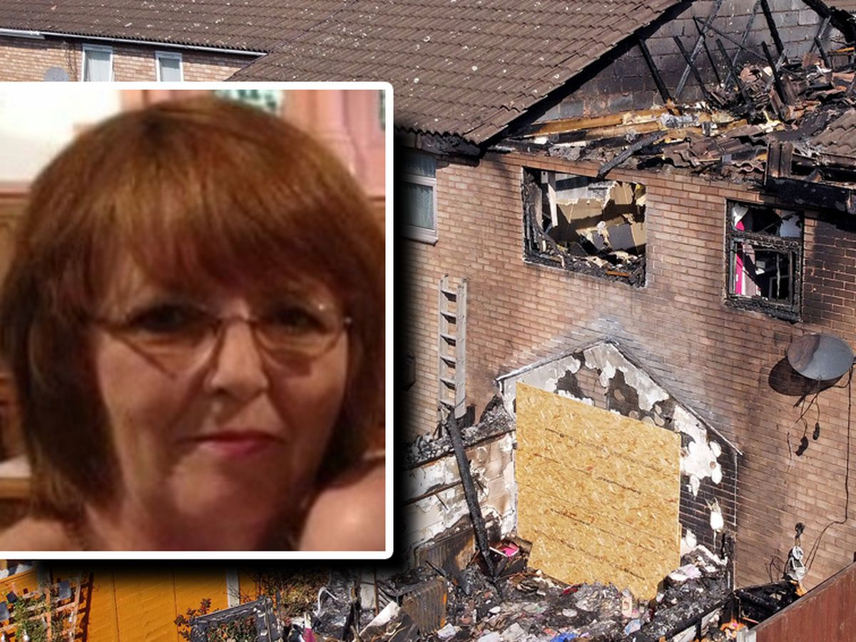 Lynn Hadley, inset, died in an explosion at her home in Shelfield, pictured