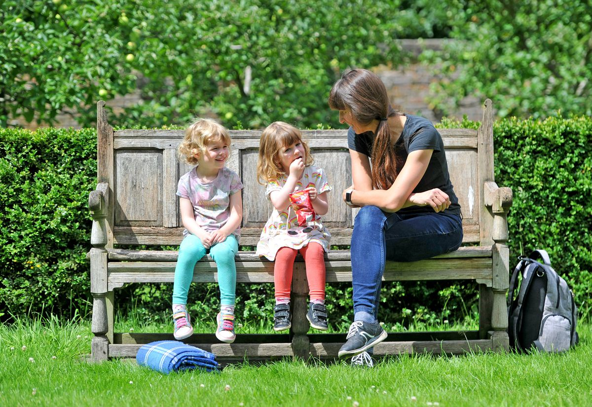 Moseley Old Hall, Wolverhampton, reopens the grounds to the public after lockdown. Clare Mullard with twins Chloe and Isabelle, aged 3, from Bradmore