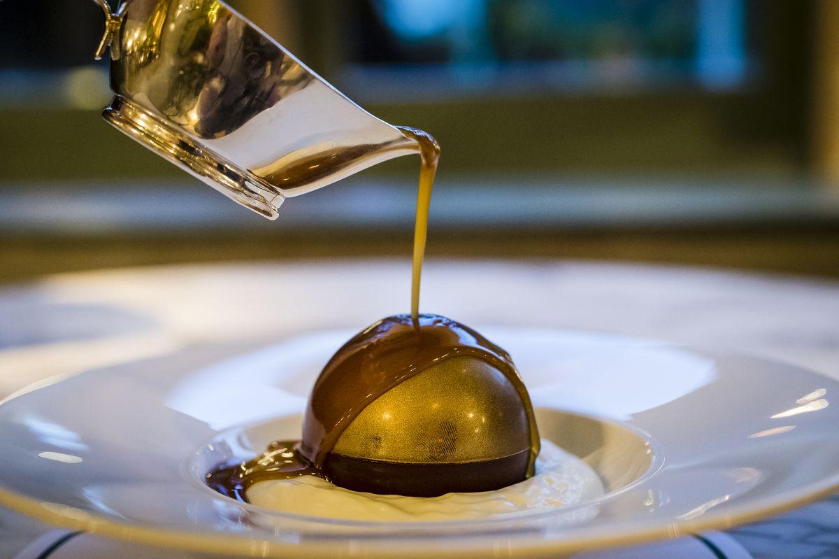 A melting chocolate bombe for desert